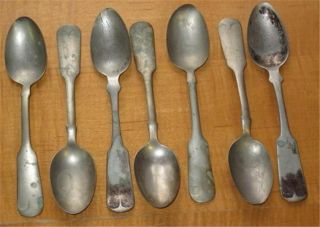 Antique Teaspoons Seven Rogers Nickel Silver & Rogers Smith & Co. photo