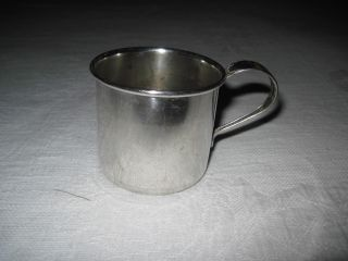 Vintage King Edward Silver Plate Child Mug - 1 Handle - Pattern On Handle - 2.  25