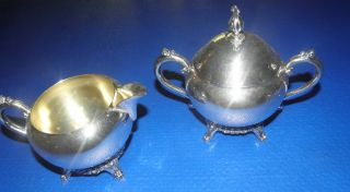 F.  B.  Rogers Co.  Silver Plated Vintage Creamer And Sugar Bowl With Lid photo