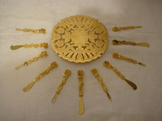 Wolff (germany) Filigree Gold Plated Horderves Serving Set photo