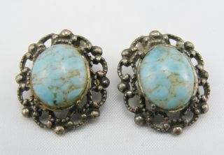 Antique Victorian Clip On Turquoise Earrings Ear Rings photo