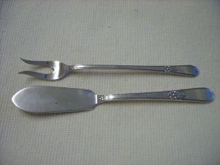 Vtg 1847 Rogers Bro Is Adoration Butter Knife/pickle (shrimp) Fork/silverplate photo