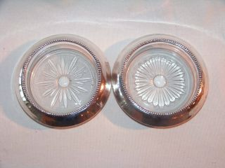 2 Antique Sterling Silver Frank M Whiting Cut Glass Coasters photo