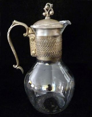 Vintage Silver Plate Glass Water Pitcher Carafe Ornate Victorian Finial Lid photo