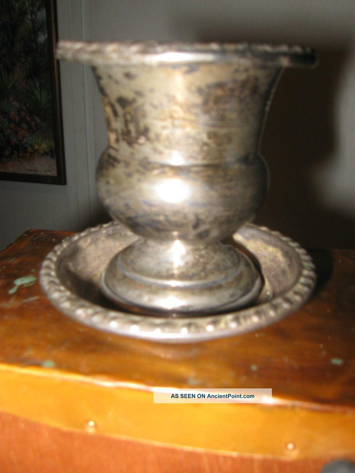Vintage 2 Piece Sterling Silver Toothpick Holder.  Vintage Salt Cellars photo