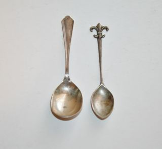 Pair Of Vintage Small Sterling Silver Spoons photo