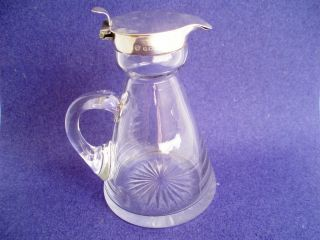 Noggin Jug Solid Sterling Silver,  Cut Glass Whisky Tot.  4ins Birmingham 1907 photo
