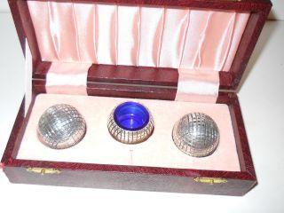 Mib Sheffield England Epns Silver Globe Shape Salt Pepper & Open Bowl - 3pc Set photo