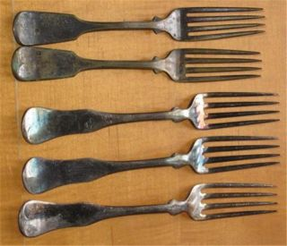 Antique Silverplate Dinner Forks Five Wm.  Rogers Mfg.  Co.  Aa photo