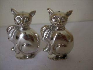 Vintage Silver Plate Pair Novelty Cat Pepper Pot Shakers Stamped Portugal photo