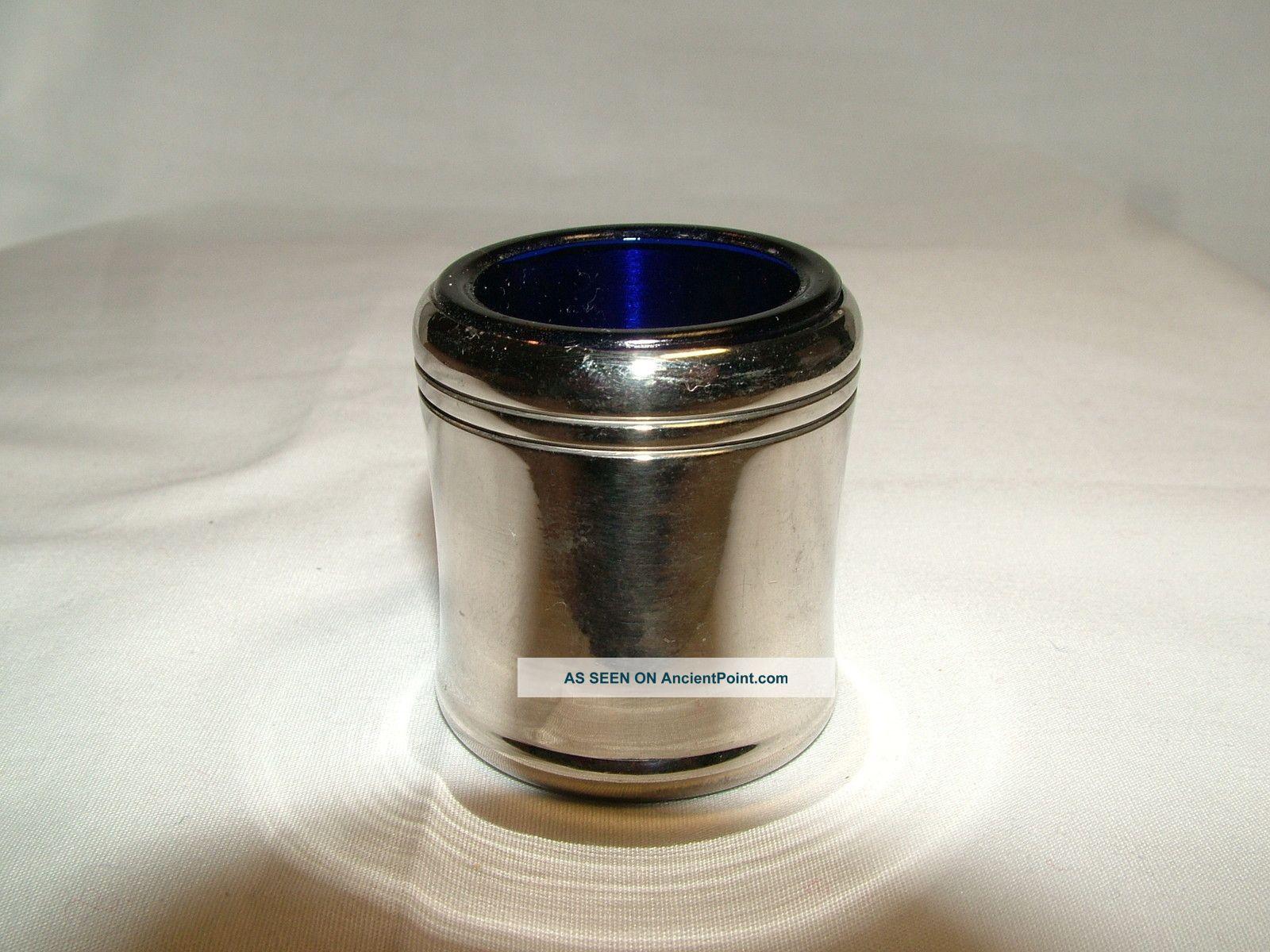 Vintage Plated Mustard Pot & Blue Glass Insert - Cmp Co Mustard Pots photo