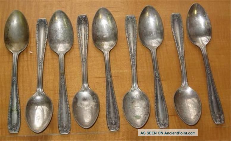 Antique Silverplate Teaspoons Nine National Silver Co.  Xtra Plate National photo