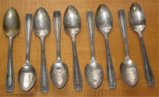 Antique Silverplate Teaspoons Nine National Silver Co.  Xtra Plate photo