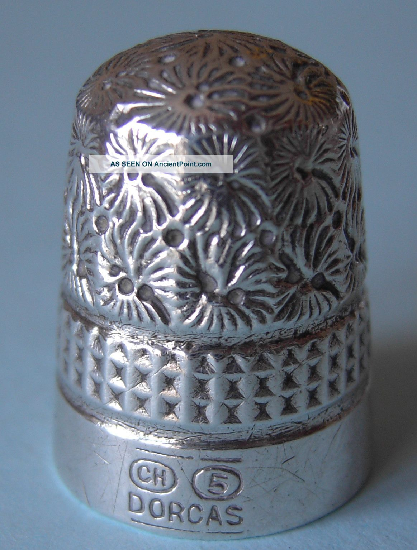 Antique Charles Horner Dorcas Silver Thimble,  Size 5 Thimbles photo