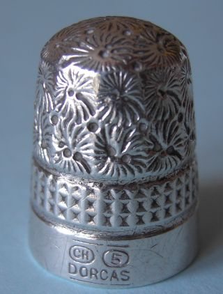 Antique Charles Horner Dorcas Silver Thimble,  Size 5 photo