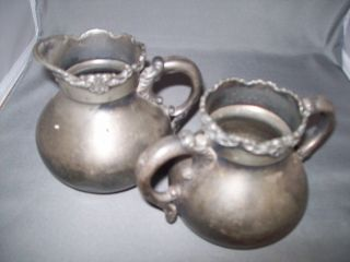 Sugar & Cream Set Middletown Plate Co Silver Plate 670 photo
