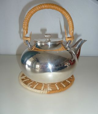 Vintage Gorham Newport Silver Plate Small Teapot Wicker Handle & Trivet No Resv photo