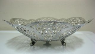 Lovelace International Retriculated 3 Ligged Silver Candy Dish 7 7/8