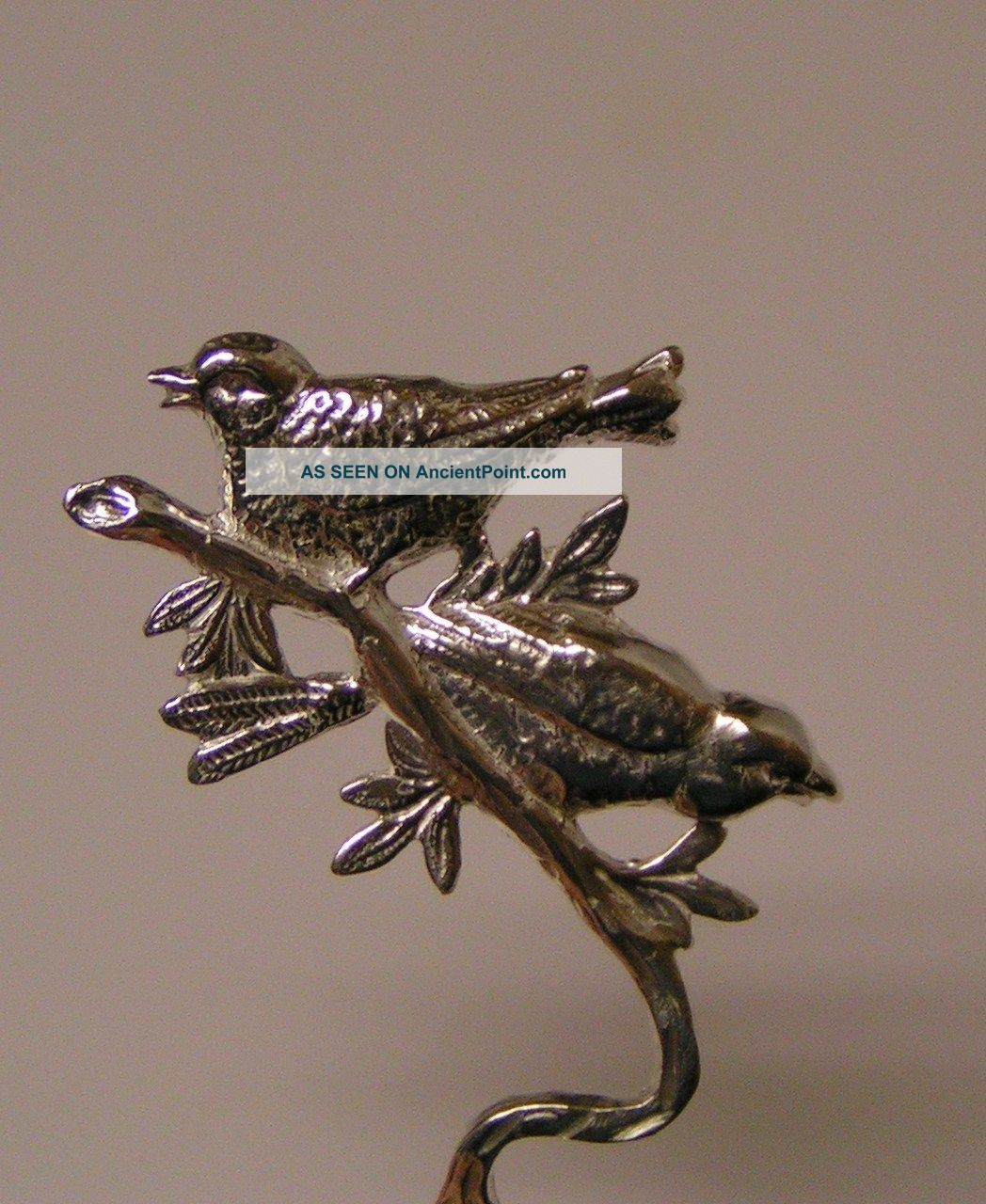 Salt Spoon (w/ 2 Bird) Sterling Silver Salt Cellars photo