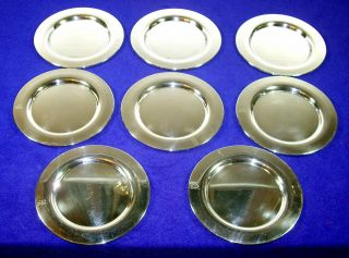 Set Of 8 Silver Plated Round Bread Plates By Oneida photo