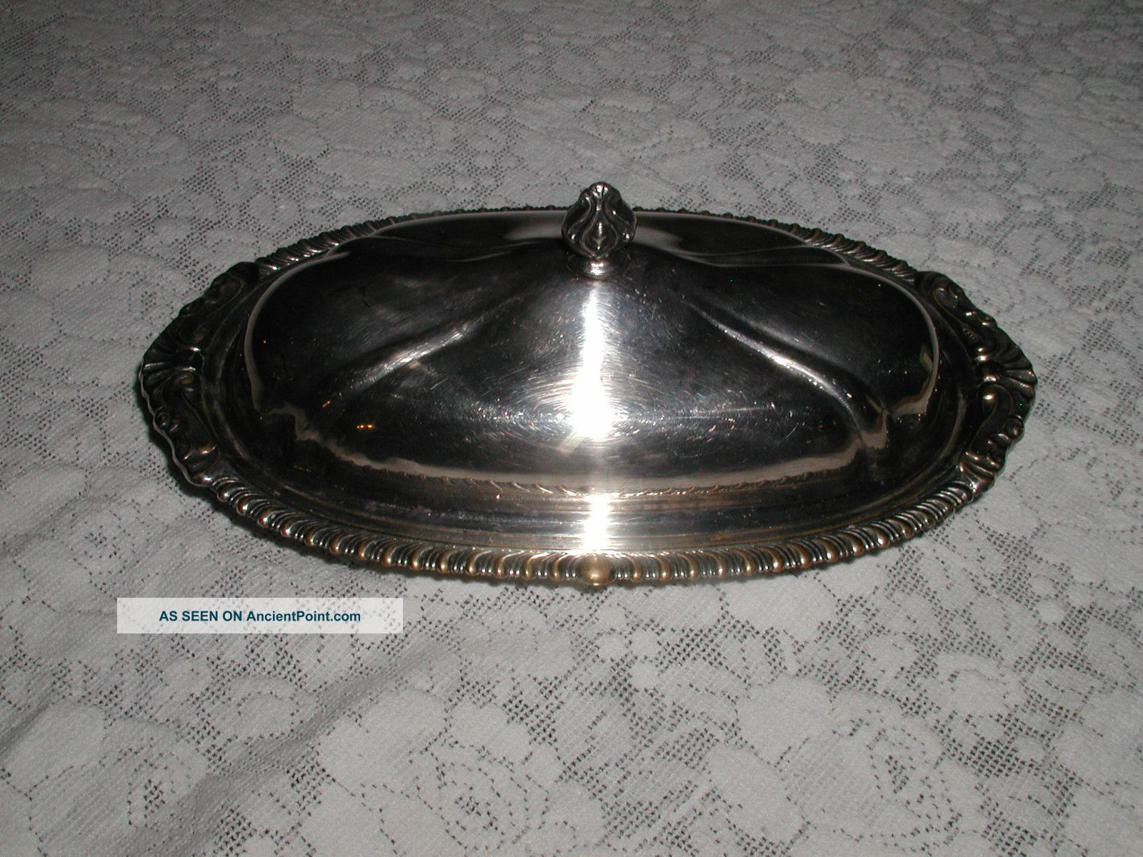 Ancient Silverplate Butter Dish With Glass Tray Silver Plate Butter Dishes photo