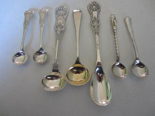 7 Victorian Silver Plated Salt / Mustard Spoons. . . photo