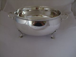 Vintage Silver Plate Side Handle Serving Bowl On 4 Cast Feet Mappin And Webb photo