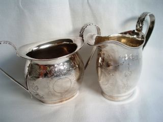 Cream Jug And Sugar Sterling Solid Silver.  Chester 1911.  Ridley Hayes.  Gorgeous. photo
