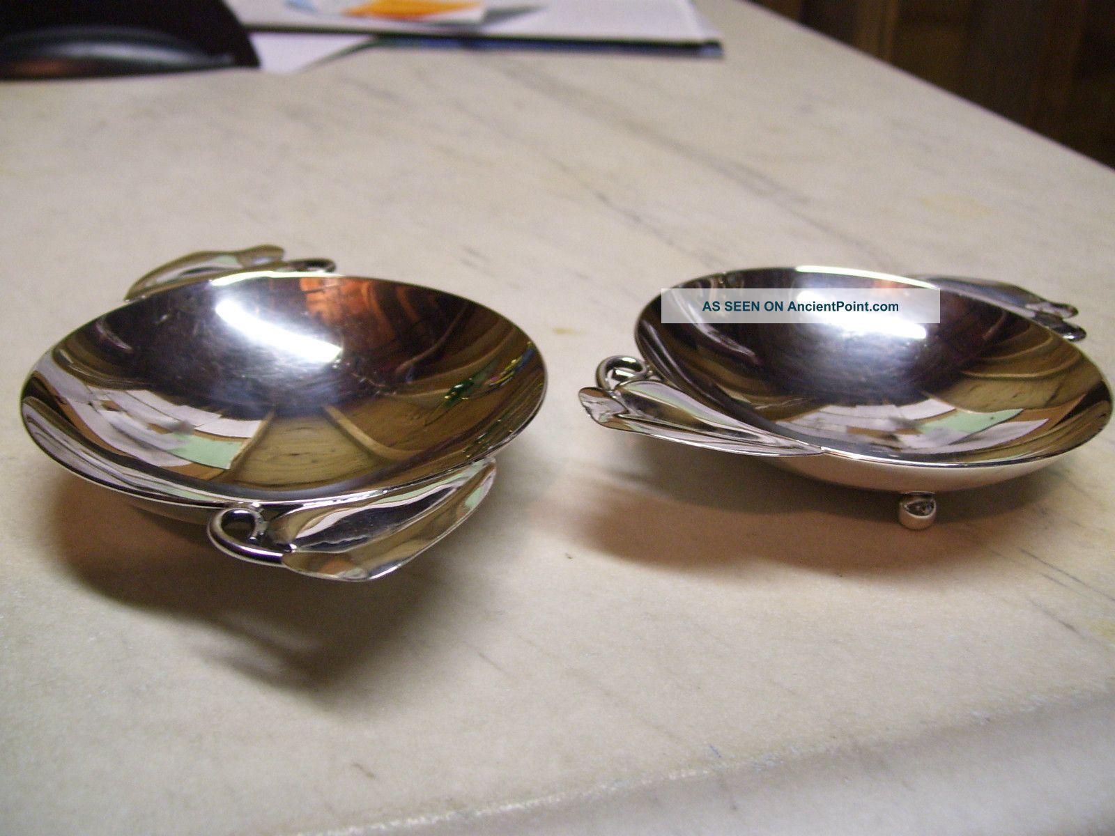 Two (2) Wheelock Handmade Master Salt Dishes;.  925 Sterling; 130gms Total; Salt Cellars photo