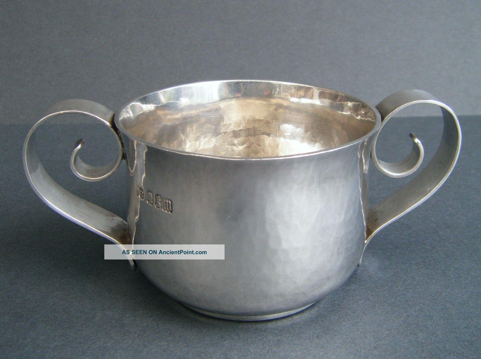 Finest Arts & Crafts Solid Britannia High Grade Silver 958,  2 Handled Cup Quaich Cups & Goblets photo