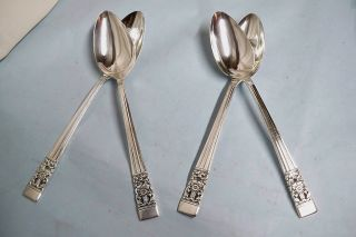 4 Coronation Oval Soup Spoons - 1936 Community Classic - Clean & Table Ready photo