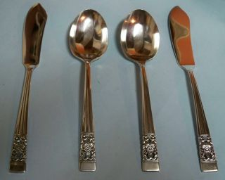 Coronation 2 Sugar Spoons & 2 Master Butter Knives - ' 36 Com - Clean & Table Ready photo