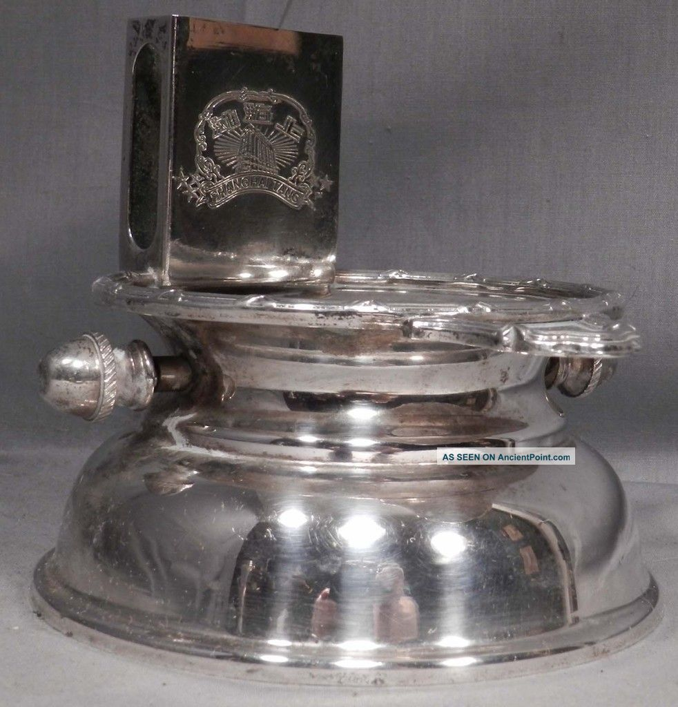 Vintage Shanghai Tang Hotel Silver Plate Ashtray Match Holder Mechanical Star Lo Ash Trays photo