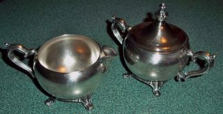 Vintage Silverplate Creamer And Sugar Bowl Set; Footed photo