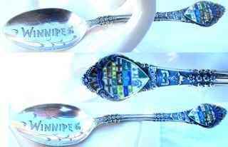 Winnipeg Canada Vintage Sterling Silver Spoon Enamel Shield Coat Of Arms 14 Gram photo