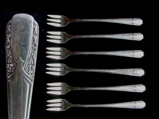 6 Seafood/cocktail Forks Wm Rogers 1938 Talisman Silverplate Silver Plate photo