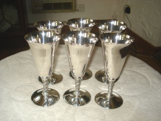 Set Of 6 Silver Plated Wine Goblets photo