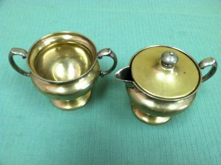 Apollo Sheffield Nickel Silver Brs 2564 Creamer And Sugar Bowl photo