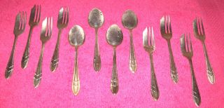 12 Pc Loxley Pastry Desert Forks And Spoons Sheffield England Silver Plated photo