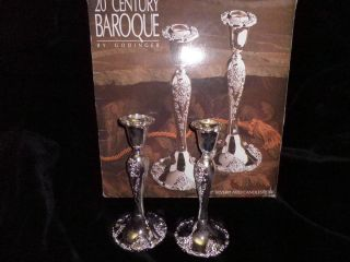 Silver Plated Candlesticks By Godinger - 20th Century Baroque - Nib photo
