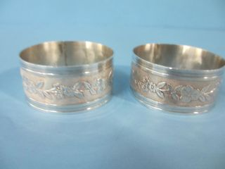 Pair Vintage Aucello Sterling Napkin Rings/floral Ring photo