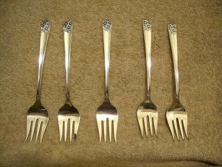 5 Rogers 1950 April Dessert Forks Silverplate Is photo