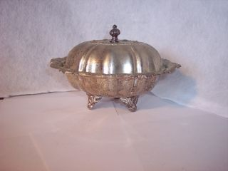 Vintage Silverplate 3 Piece Covered Butter Dish photo