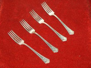 Antique 1911 R Wallace Marquette Set (4) Dinner Forks Mngr photo