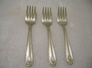 Cameo Silver Plate 3 Dessert Or Salad Forks photo