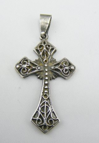 Antique Victorian Solid Silver Filigree Work Celtic Cross Pendant Religious photo