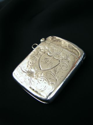 Edwardian Antique Solid Sterling Silver 925 Vesta Case By J.  G,  B'ham 1902 photo