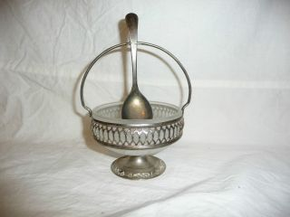 Antique Silverplate Sugar Bowl With Spoon Sheffield England photo