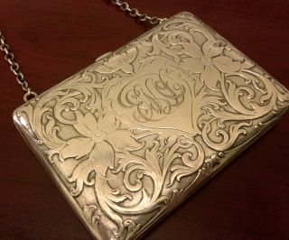 Mauser Sterling Silver Purse Card Case Nouveau Antique Victorian 91 Grams photo