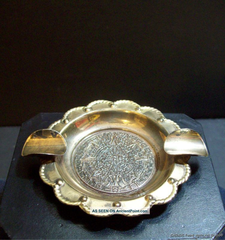 Vintage Signed Sterling Mexico Sun Calender Ashtray Silver 925 Mexican Mexico photo